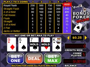 Free Videopoker Bonus Poker Deluxe