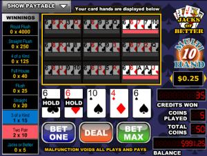 Free Videopoker Jacks Or Better-10 Hand