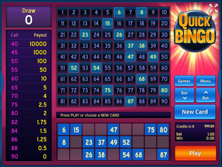 Free Quick Bingo Online